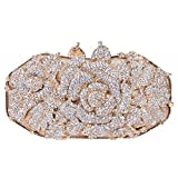 Fawziya Metal Rose Flower Leaf Magnet Clasp Quality Baguette Evening Clutch-Gold
