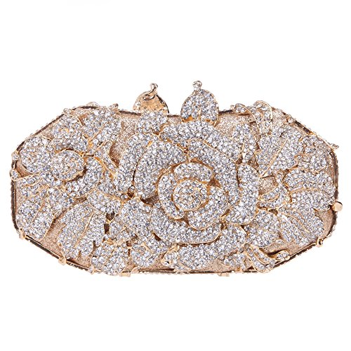 lower Leaf Magnet Clasp Quality Baguette Evening Clutch-Gold ()