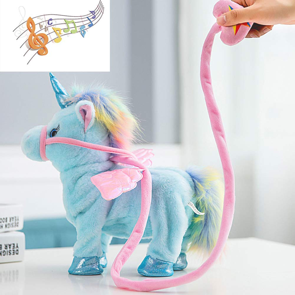 NEWBEGIN Walk Along Toy Stuffed Plush Pony Toy Realistic Walking Actions with Unicorn Sounds and Music Blue