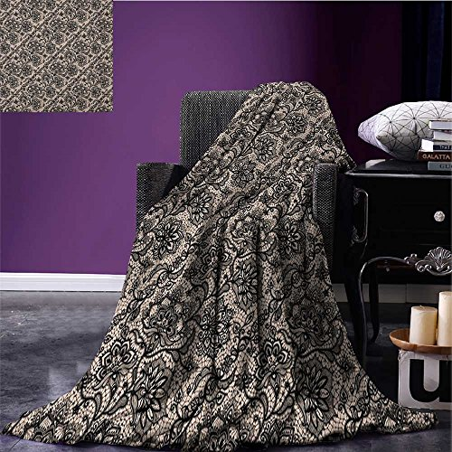 Gothic throw blanket Abstract Graphic Lace Pattern with Flowers Butterflies Old Fashioned Nature Inspired miracle blanket Tan Black size:59