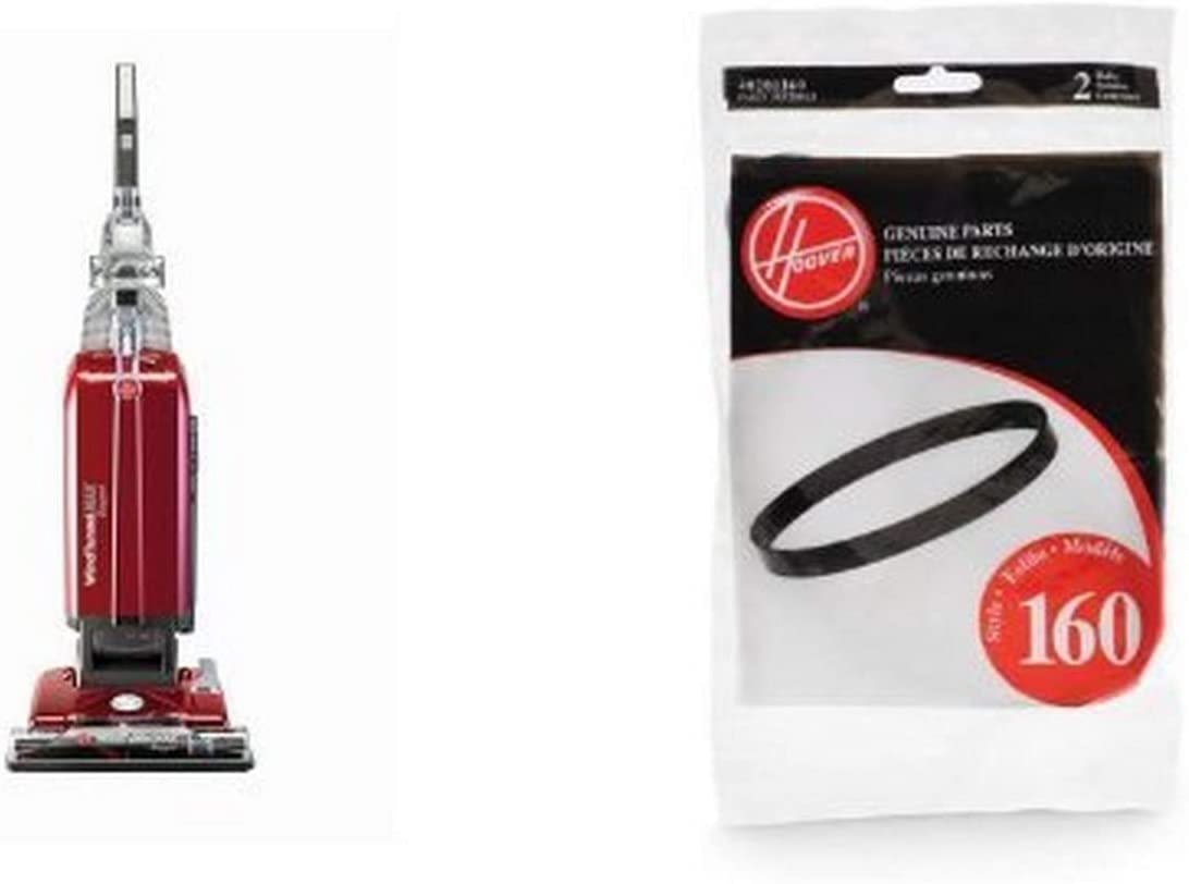 Hoover Windtunnel MAX Bagged Upright - UH30600 and Hoover 40201160 Windtunnel Agitator Belts, Hoover 38528033 2-Pack Bundle