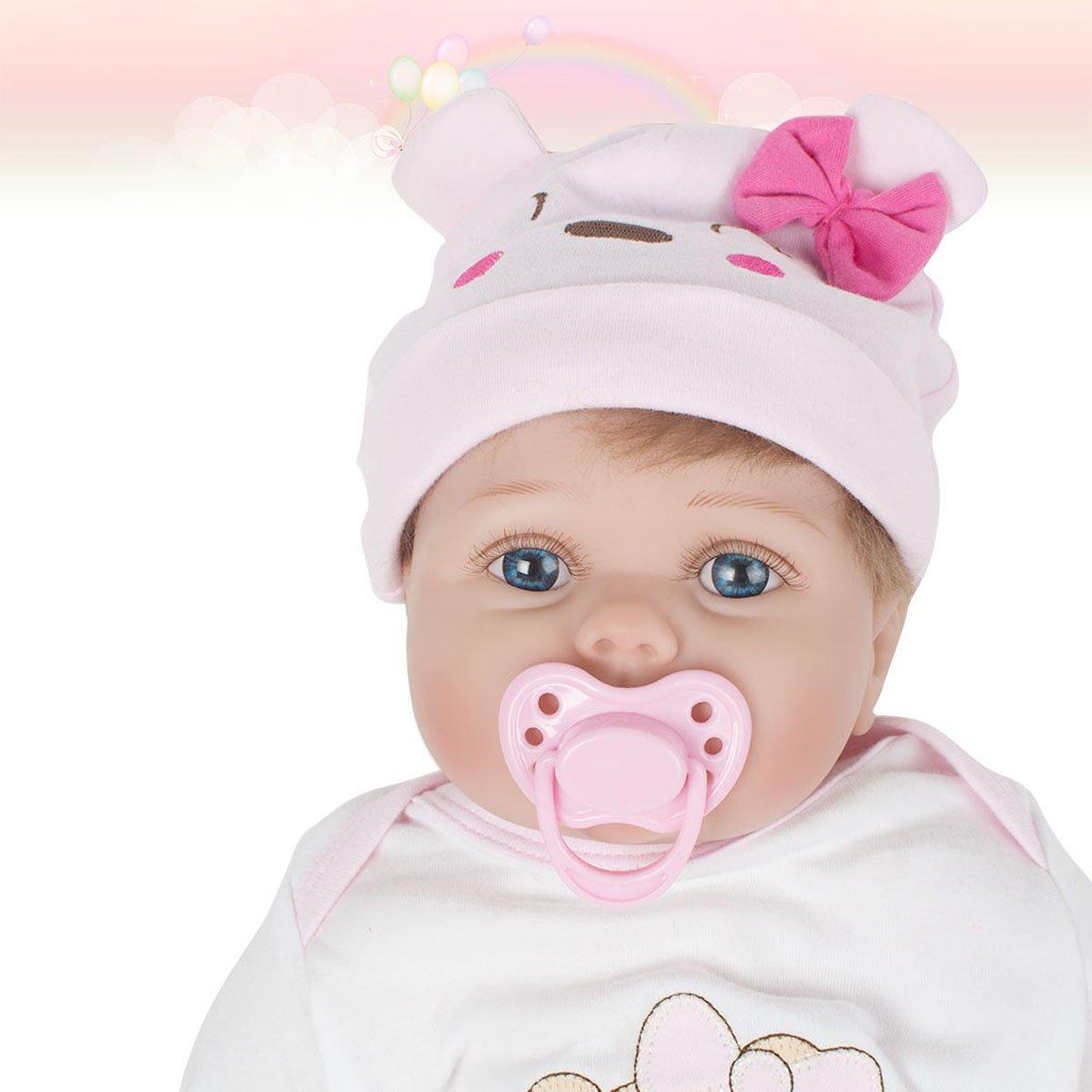 Scenstar New Born Baby Babypuppen Interactive Super Soft Lifelike Neugeborene Silikon Vinyl Reborn Geschenk Baby Dolls Handgefertigte Puppen + Kleidung,55cm