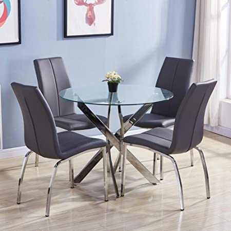 Goldfan Dining Table And Chairs Set 4 Morden Glass Round Kitchen Table 4 Dining Chairs Grey Pu Leather Amazon Co Uk Kitchen Home