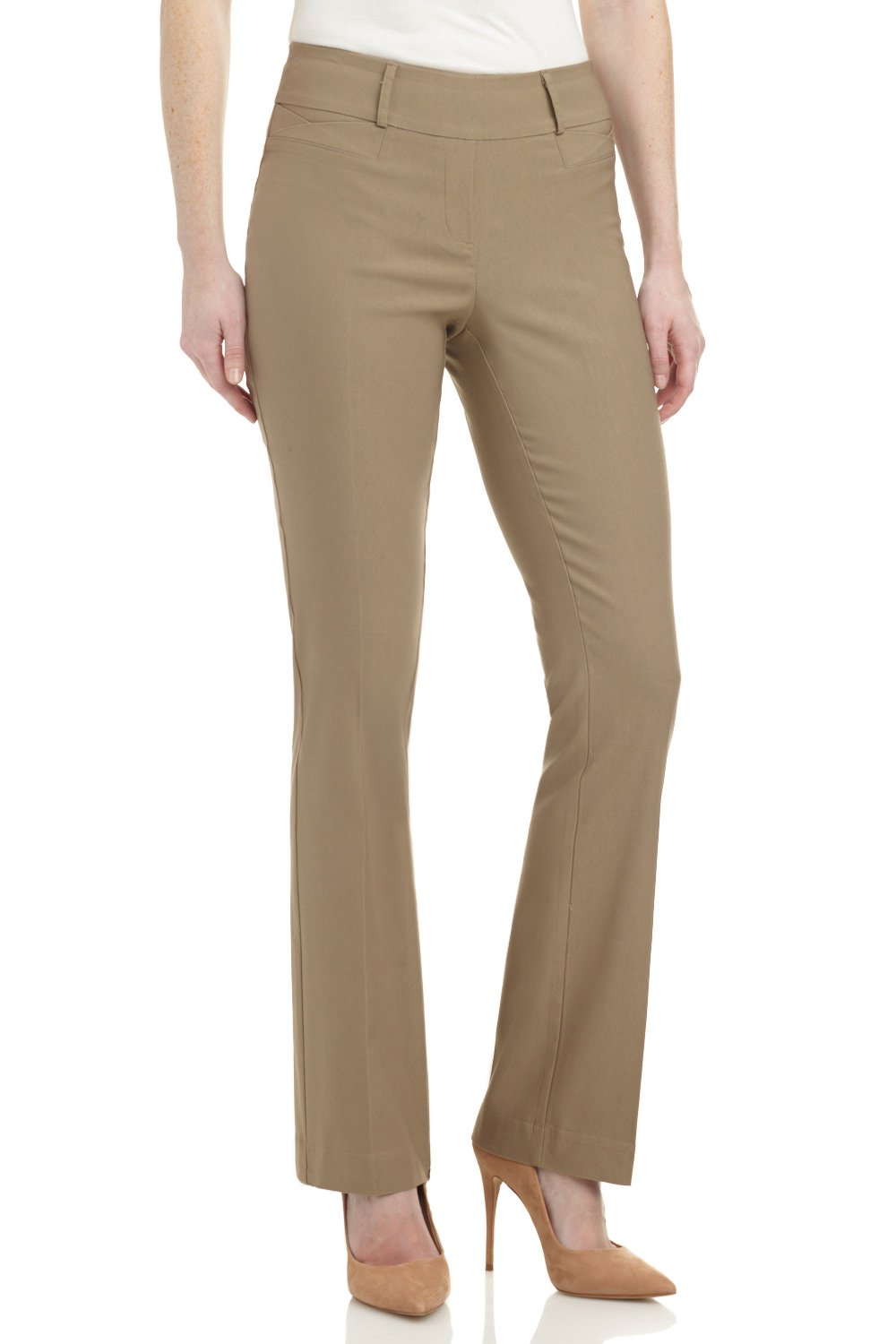 Rekucci Women's ''Ease In To Comfort Fit'' Barely Bootcut Stretch Pants (10,Oatmeal)