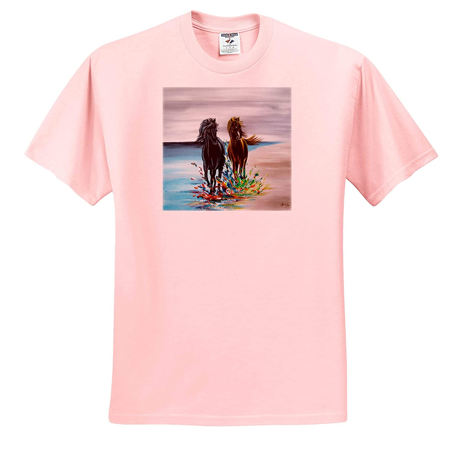 an Image of Two Horses Running Along The Beach - T-Shirts Love is Love 3dRose Art by Mandy Joy Animals