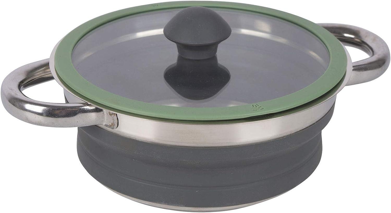 De silicona olla con tapa de cristal y acero inoxidable suelo, plegable, 2 litros, base plegable silicona olla Acero Inoxidable Camping olla cocina