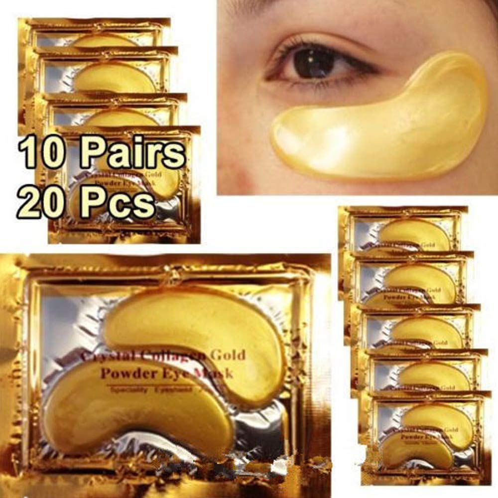 10 x Collagen Gold Eye Pad Ladies Female Xmas Gift Stocking Filler Christmas Set Cosmetic For Her Kit Beauty Detox 10 Pairs Collagen Crystal Eye Pads Eye Pads Anti Aging Mask Wrinkle Care 24k Gold Eye Mask Collagen Eye Pads Patches for Puffy Eyes Under Ey