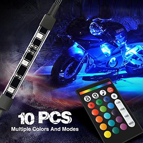 Ambother 10pcs Motorcycle Led Light Kit Strips Dual Ir Rf