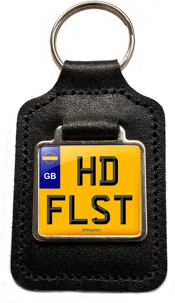 Harley Davidson Flst Cherished Number Plate Motorcycle Leather Keyring Gift