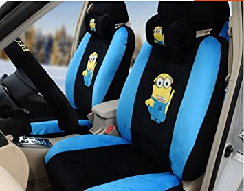 18pcs the New Short Plush Cartoon Car Seat Cover Car Covers (Black ...
