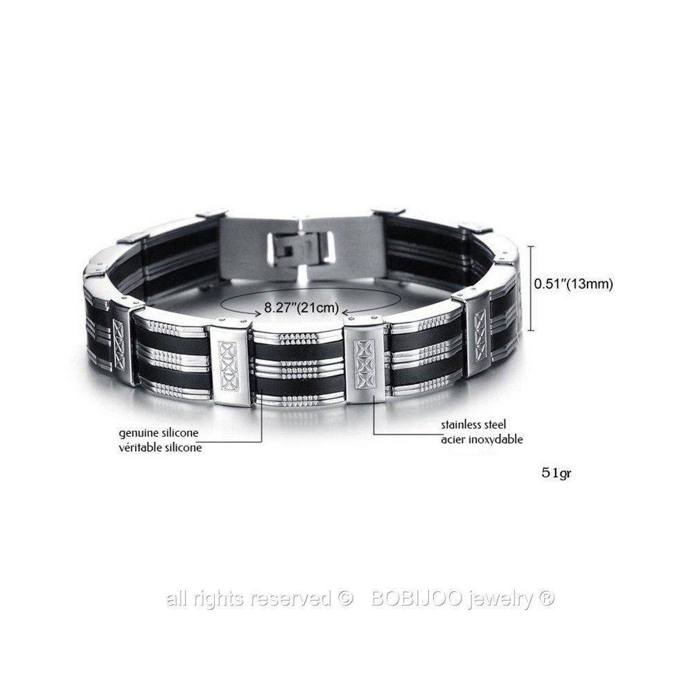 Bracelet Gourmette Homme Acier Inoxydable Silicone Carbone Argent/é Noir Mode Tendance BOBIJOO Jewelry