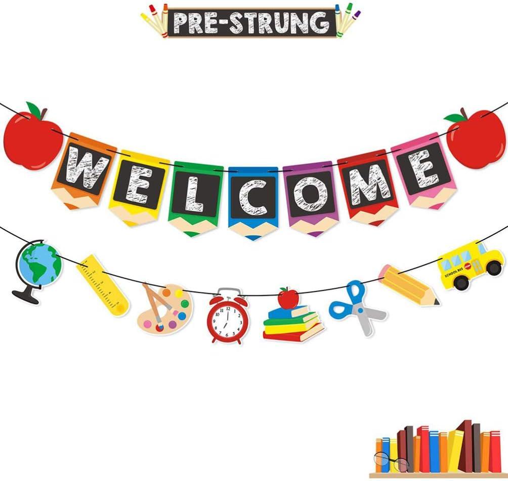 Papier Bleistiftform Nuobesty Willkommens-Banner zum Aufh/ängen Dekoration Party f/ür Zuhause bunte Flagge Klassenzimmer Schule
