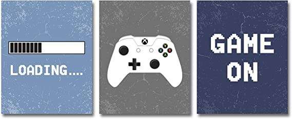 """Video Game Decor Set of 3 (8""""X 10""""), Game Themed Art Print Room Wall Decoration"""