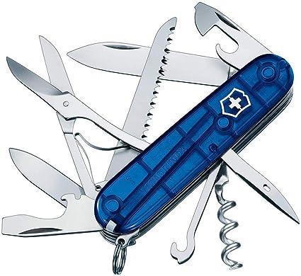 blau transparent Victorinox Taschenmesser Huntsman 15 Funktionen, Schere, Holzs/äge, Korkenzieher