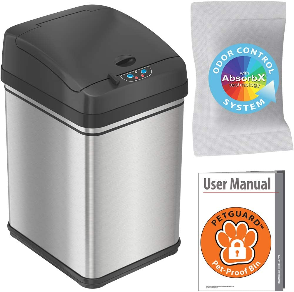 iTouchless 8 Gallon Pet-Proof Sensor Trash Can with AbsorbX Odor Filter, 30 Liter Automatic Kitchen Garbage Bin Prevents Dogs & Cats Getting in, Battery or AC Adapter (Not Included), Stainless Steel