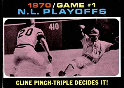 Amazon.com: 1971 Topps # 199 1970 NL Playoffs - Game 1 - Cline Pinch-Triple  Decides It Ty Cline/Rich Hebner Cincinnati/Pittsburgh Reds/Pirates  (Baseball Card) VG/EX Reds/Pirates: Collectibles & Fine Art