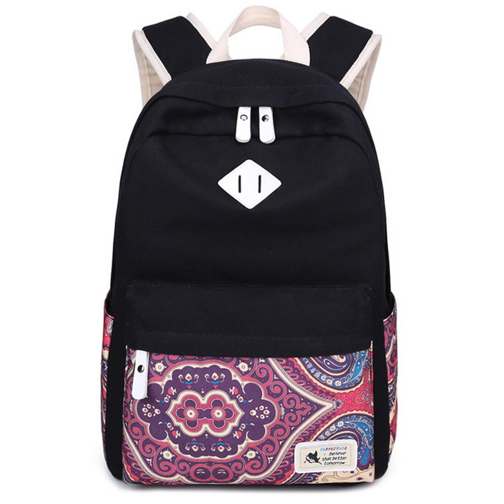 Canvas Laptop Backpack School Bag Printing Travel Black Backpack for Women Men