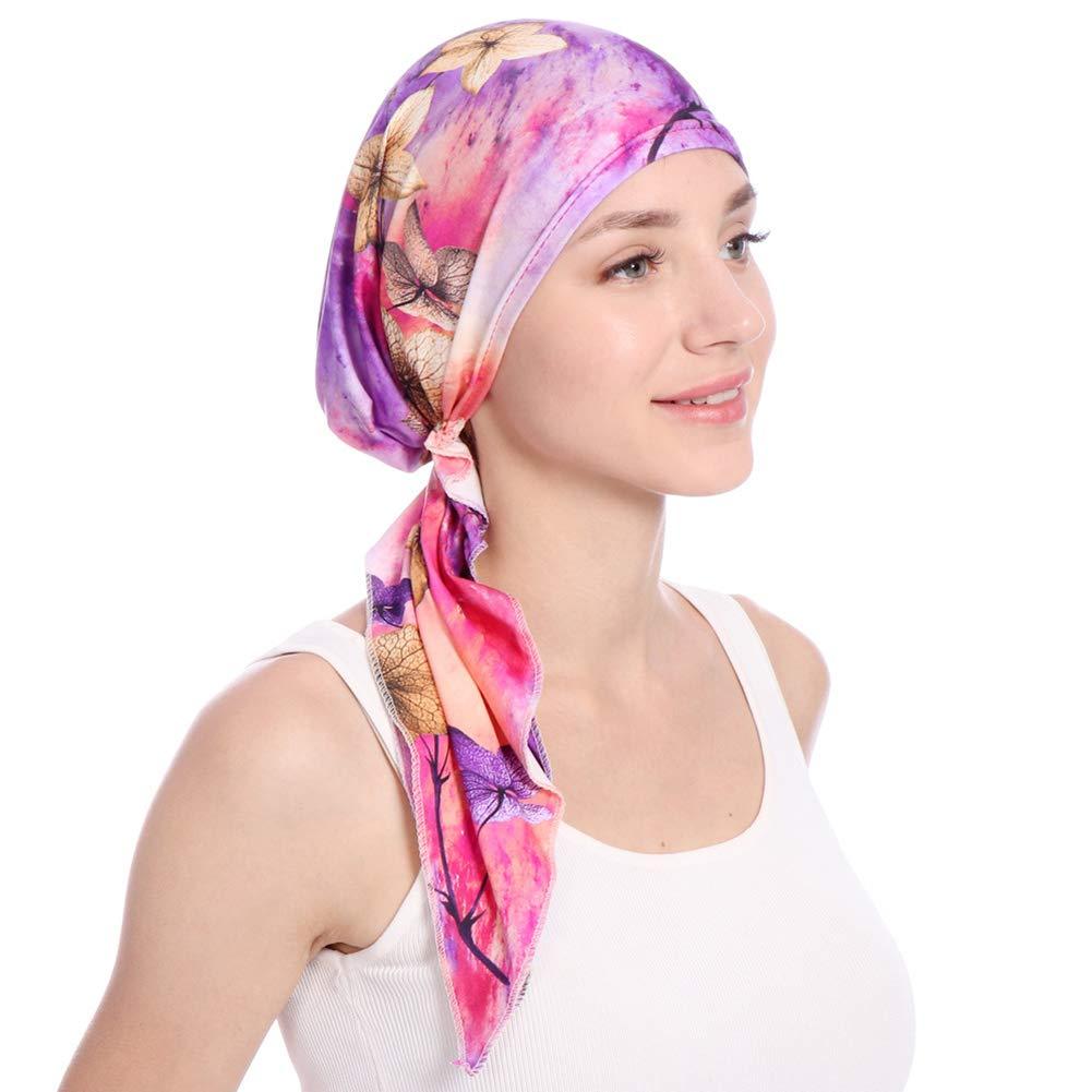 shengyuze Fashion Floral Printed Breathable Women Head Wrap Hat Muslim Hijab Turban Decor - Rose Red by shengyuze (Image #8)