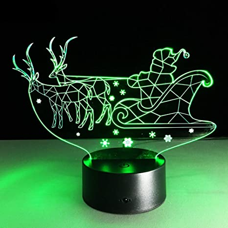 KangYD Lámpara trineo de Navidad 3D, Luz de noche LED visual ...
