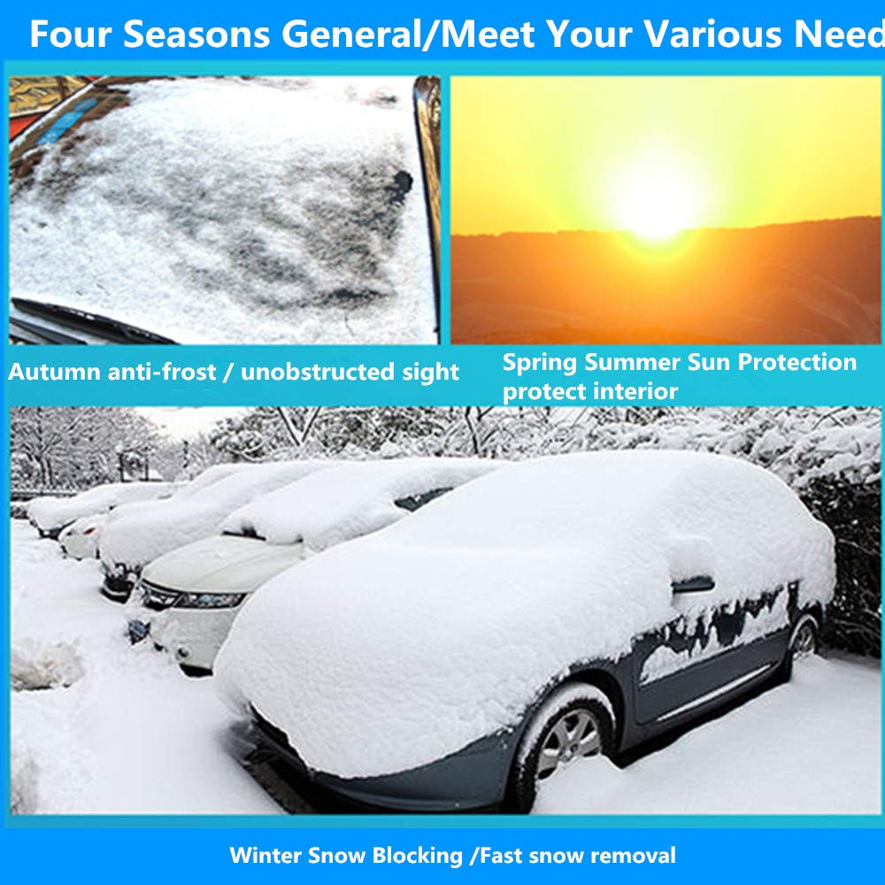 Minleer Car Windscreen Cover Protector from Snow Frost Ice Dust UV Pefect Fit for Cars SUVs All Years Summer//Winter 183 * 147 * 116 CM Car Windshield Snow Cover
