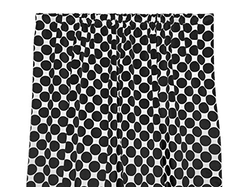 Zen Creative Designs Premium Cotton Large Polka Dot Curtain Panel/Home Window Decor/Window Treatments/Large/Dots/Spots (58 Inch x 36 Inch, Black White)