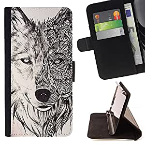 For LG Nexus 5 D820 D821 Wolf Hound Dog Pencil Pattern Mystical Style PU Leather Case Wallet Flip Stand Flap Closure Cover