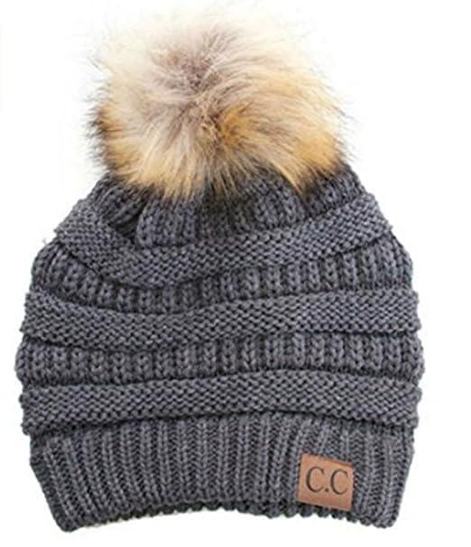 2d830c768 Amazon.com: Women's CC Soft Stretch Cable Knit Fur Pom Pom Beanie ...