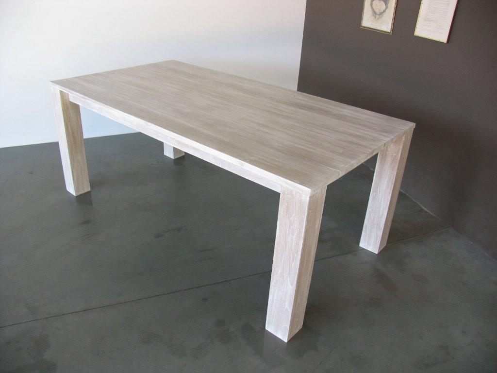 Latest tavolo shabby in legno di teak finitura bianco - Decapare un tavolo ...