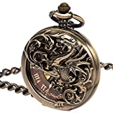 Mens Skeleton Mechanical Pocket Watch - Bronze Dragon Hollow Double Hunter ManChDa Burlywood Dial