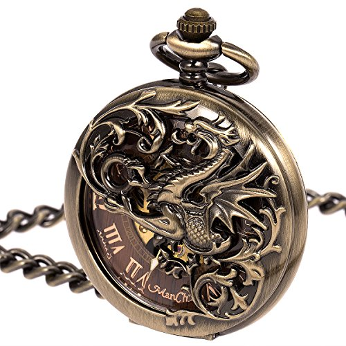 ManChDa Mens Skeleton Mechanical Pocket Watch Dragon Hollow Double Hunter ManChDa Burlywood Dial