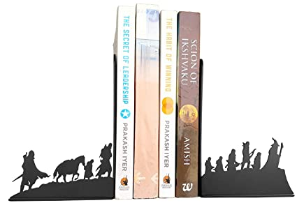 HeavenlyKraft Lord of The Rings Fellowship Decorative Metal Bookend, Non Skid Book End, Book Stopper for Home/Office Decor/Shelves, 5.9 X 3.9 X 3.14 Inch Per Piece