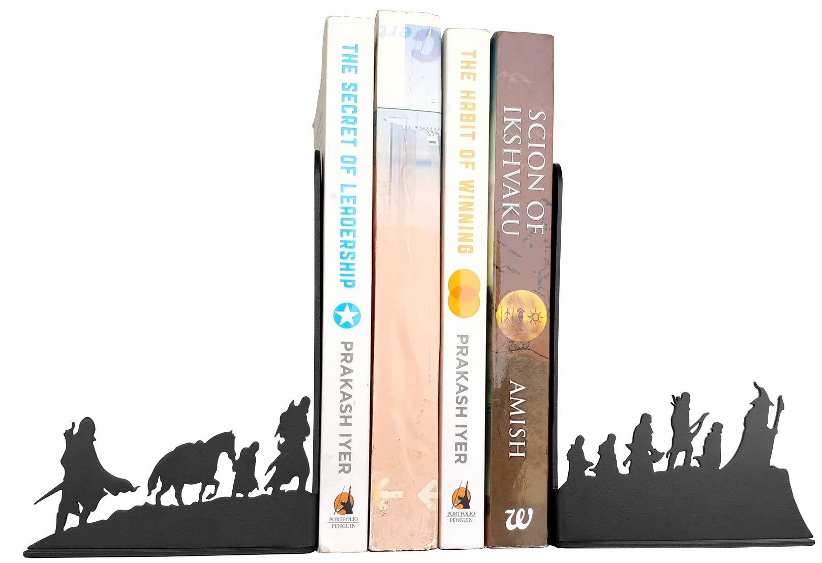 HeavenlyKraft Decorative bookends for Shelves Decorative Metal Bookend, Non Skid Book End, Book Stopper for Home/Office Decor/Shelves, 5.9 X 3.9 X 3.14 Inch Per Piece