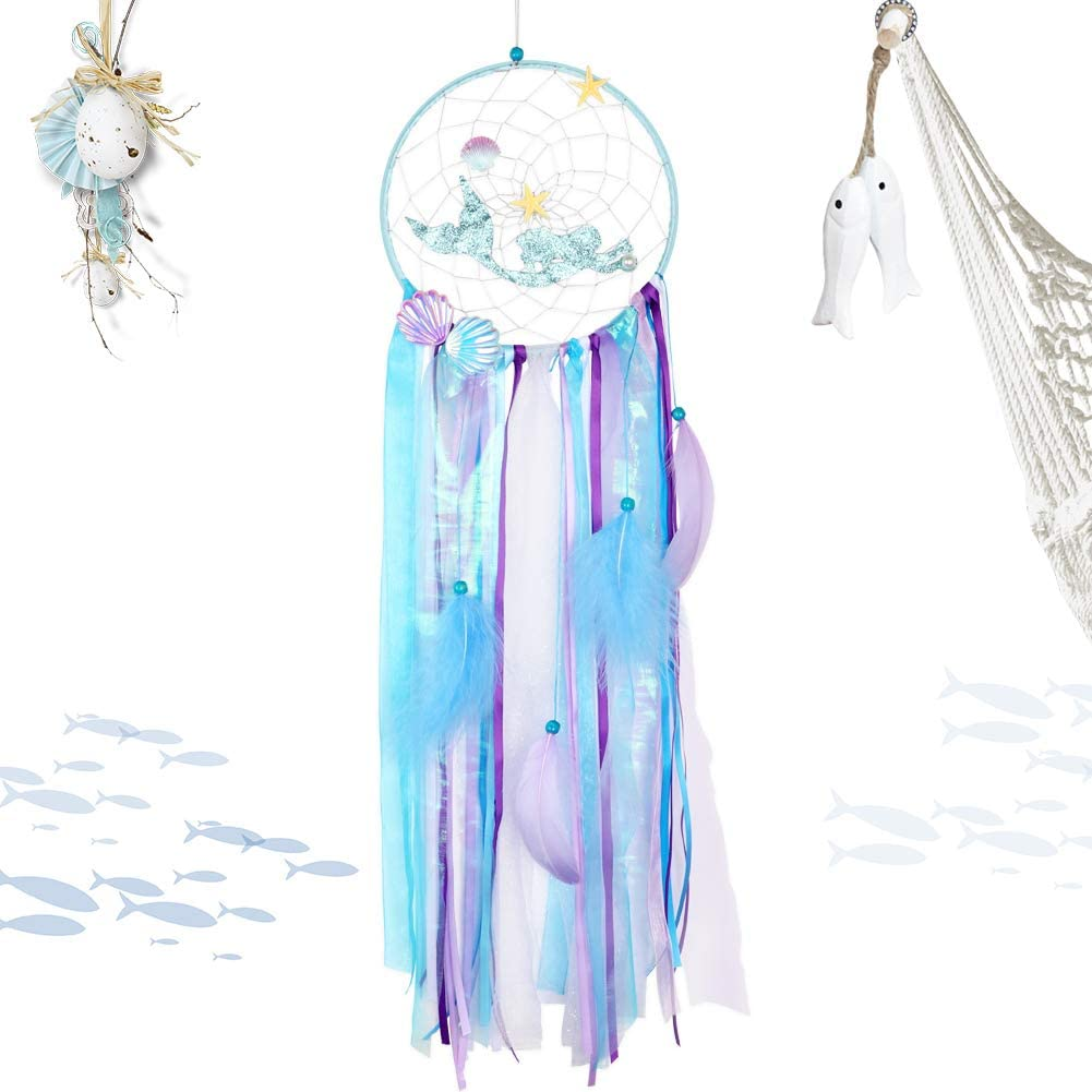 OurWarm Mermaid Dream Catcher Handmade Purple Blue Dream Catchers for Kids Bedroom Wall Hanging Decor Mermaid Baby Shower Under The Sea Birthday Party Decorations