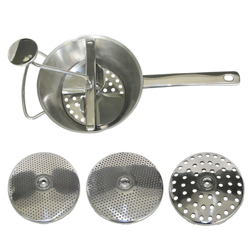 【STAINLESS STEEL FOOD MILL】3 Milling Discs, Dishwasher Safe,With Vegetable Peeler - Large Manual Mill for Making Puree or Soups of Vegetables, Tomatoes, Applesauce - Stainless Steel Blades