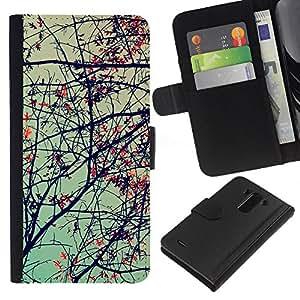 EJOY---La carpeta del tirón la caja de cuero de alta calidad de la PU Caso protector / LG G3 / --Planta Naturaleza Forrest Flor 69