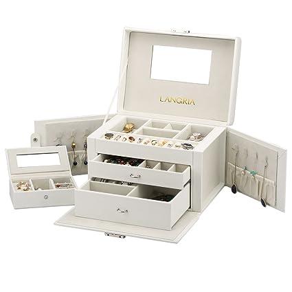 LANGRIA Caja Joyero Rectangular de Piel Sintética, con Compartimentos Extraíbles, Cierre con Llave, Interior Aterciopelado y con Espejo, Incluye ...