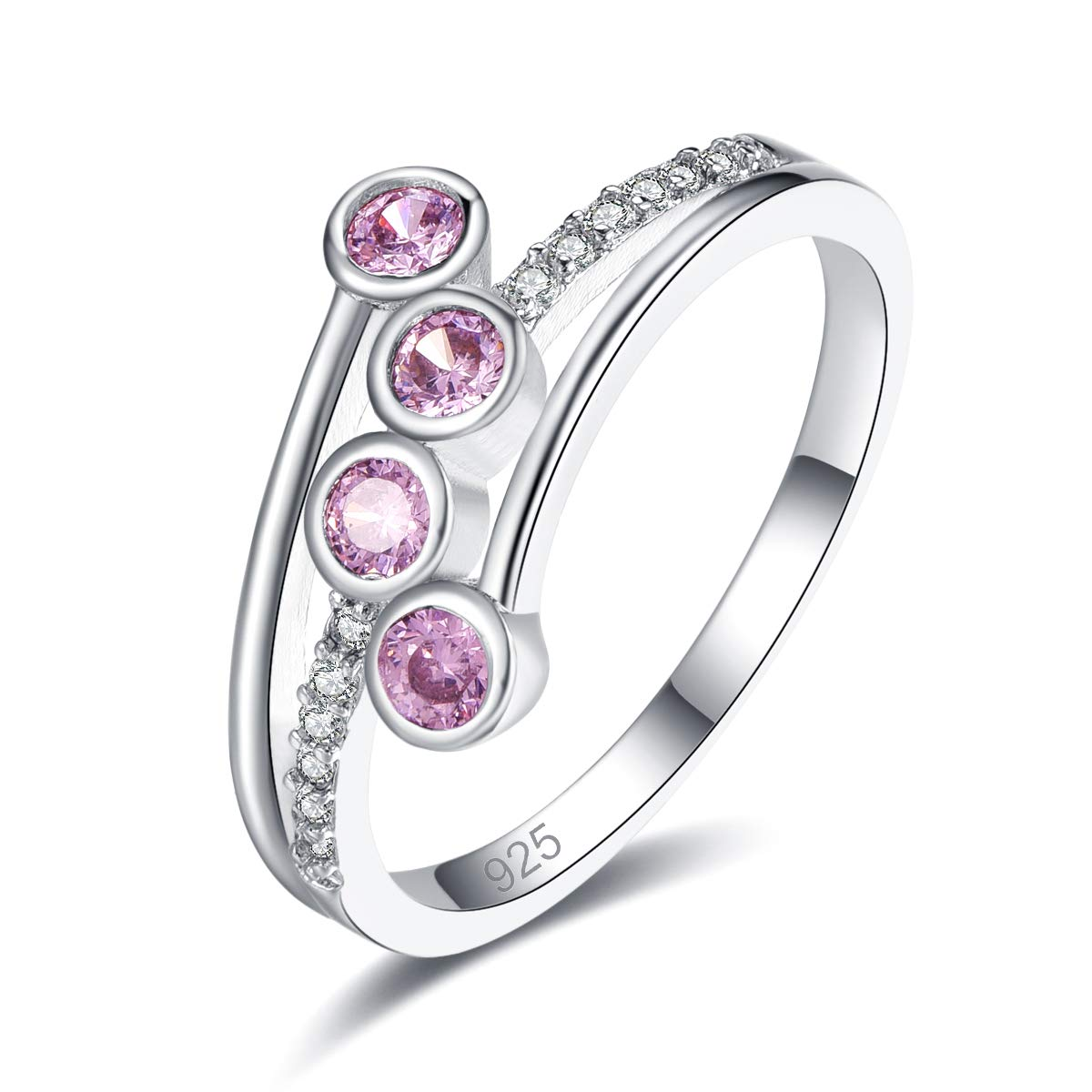Veunora 925 Sterling Silver Plated Lab-Created Promise Proposal Engagement Wedding Rings for Women Girl
