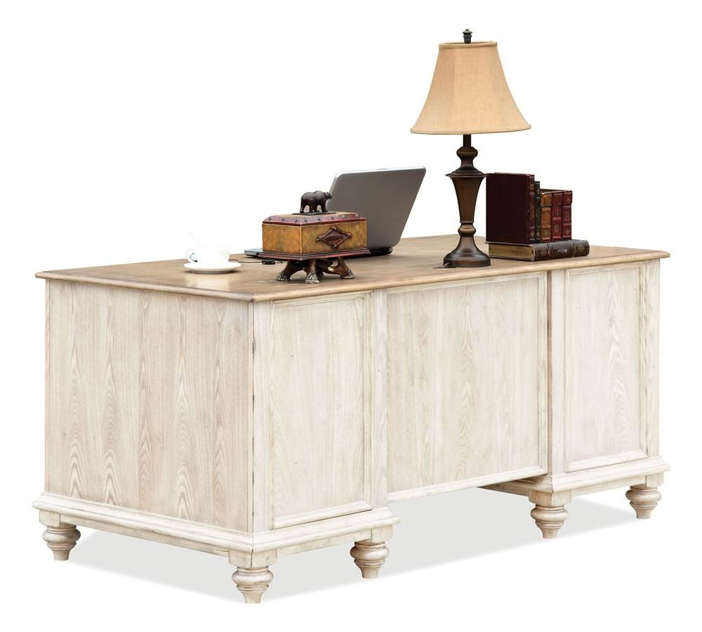 Coventry Two Tone Executive Desk w Drawers (Weathered Driftwood & Dover White) by Riverside Furniture (Image #1)