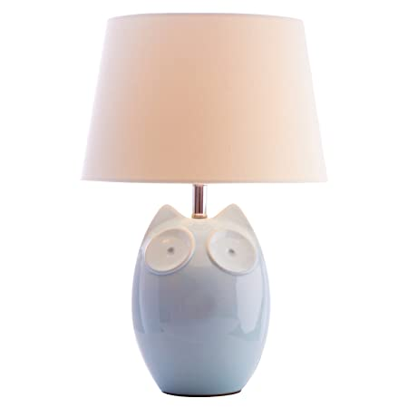 Modern hector owl glossy ceramic table lamp with fabric shade blue modern hector owl glossy ceramic table lamp with fabric shade blue cream aloadofball Image collections
