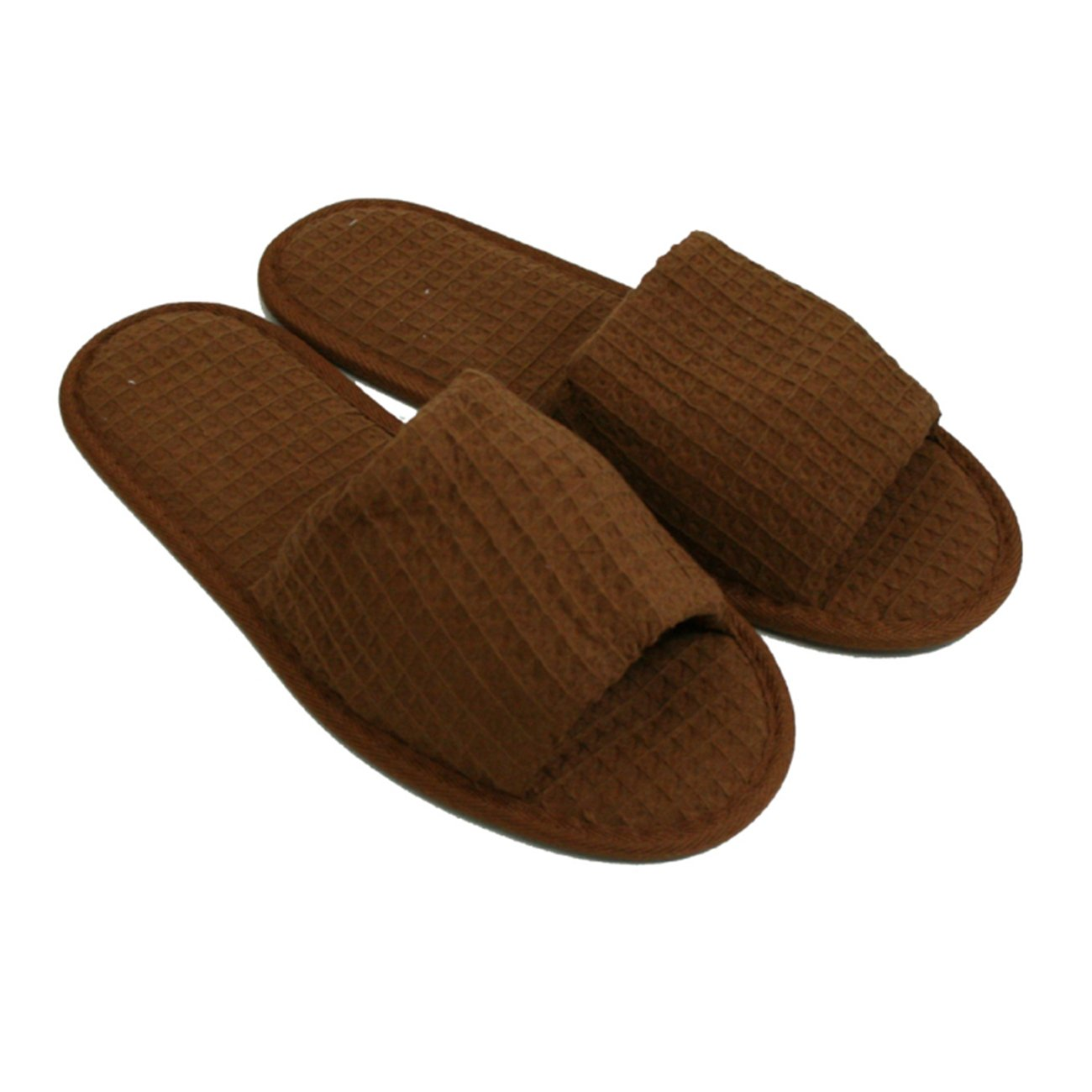 Waffle Open Toe Adult Slippers Cloth Spa Hotel Unisex Slippers for Women and Men Wholesale 100 Pcs Dark Chocolate