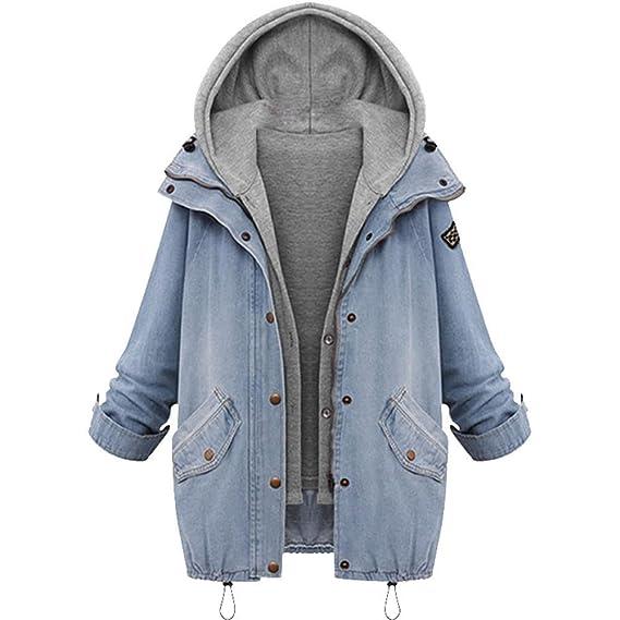 K-Youth Mujeres Abrigo Abrigo Mujer Invierno Outwear Blazers Tops Capa Manga Larga Chamarra Doble Mezclilla Capucha Coat Jacket Sportswear Chaqueta ...