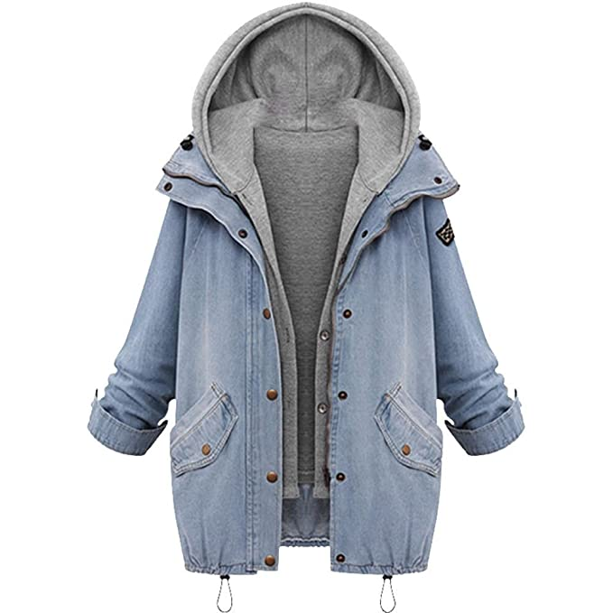 iZHH Winter Jacket Denim Trench Parka Women Warm Collar Hooded Coat Outerwear(Blue,US
