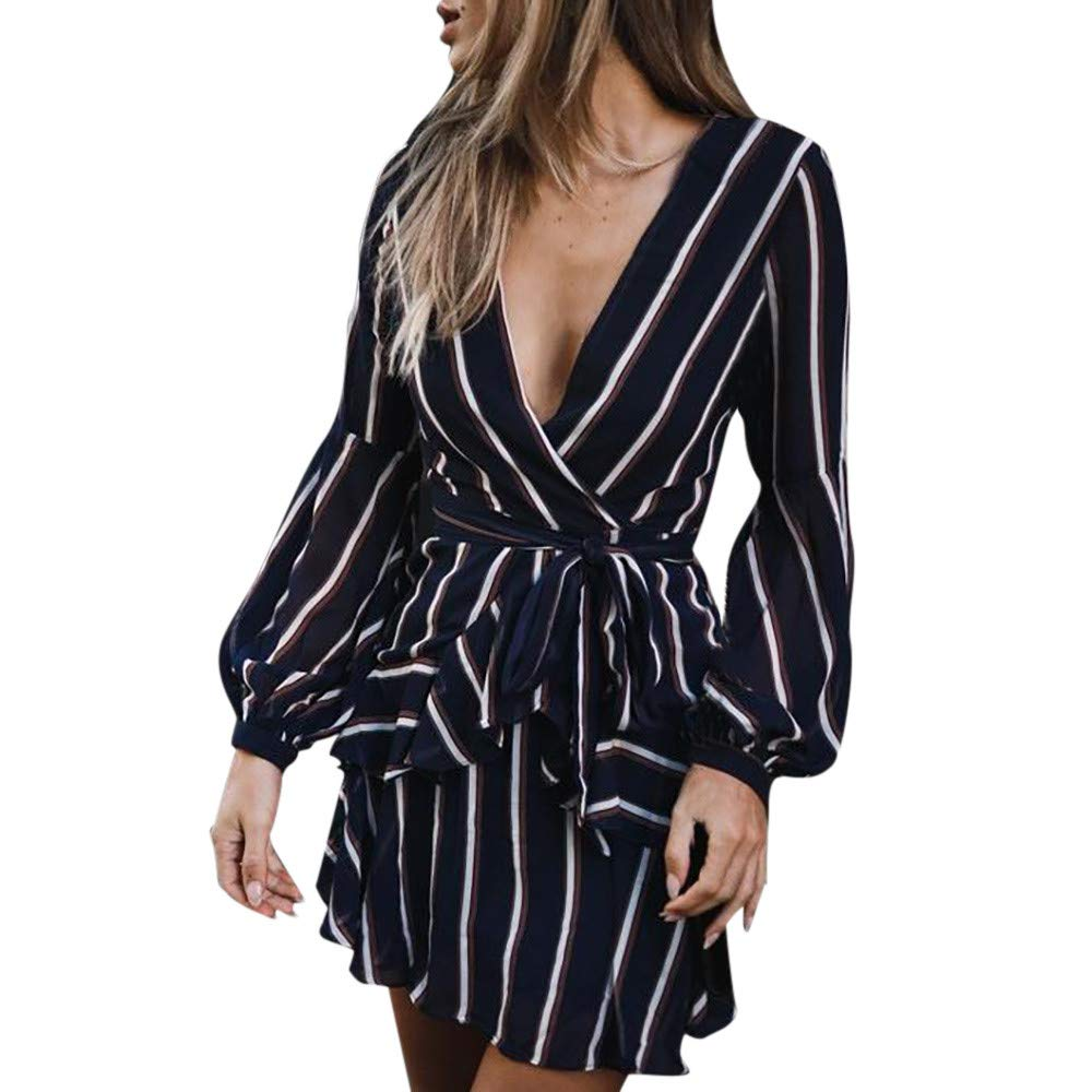 JESPER Women's Fashion Long Sleeve Casual Striped Ruffle Mini Dress XL Navy