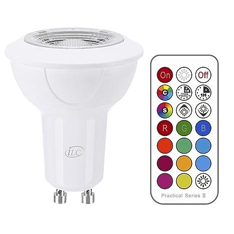 iLC Bombilla LED Foco GU10 Colores RGBW Bombillas spot Cambio de Color Regulable Blanco Cálido 2700k