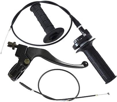 Minireen 7//8 Twist Throttle Accelerator Handle Grips and Cable Set Left Right Clutch Brake Handle Levers Perch For XR80 XR100 CRF70 CRF80 CRF100 Pit Dirt Motor Bike Baja Mini Bike 196cc 5.5hp 6.5hp