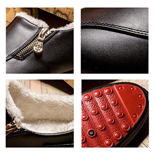 Cuero Moda Mocasines Negro Plano Cordones De Deylaying Calzado Zapatos Sin Hombre XwUU7