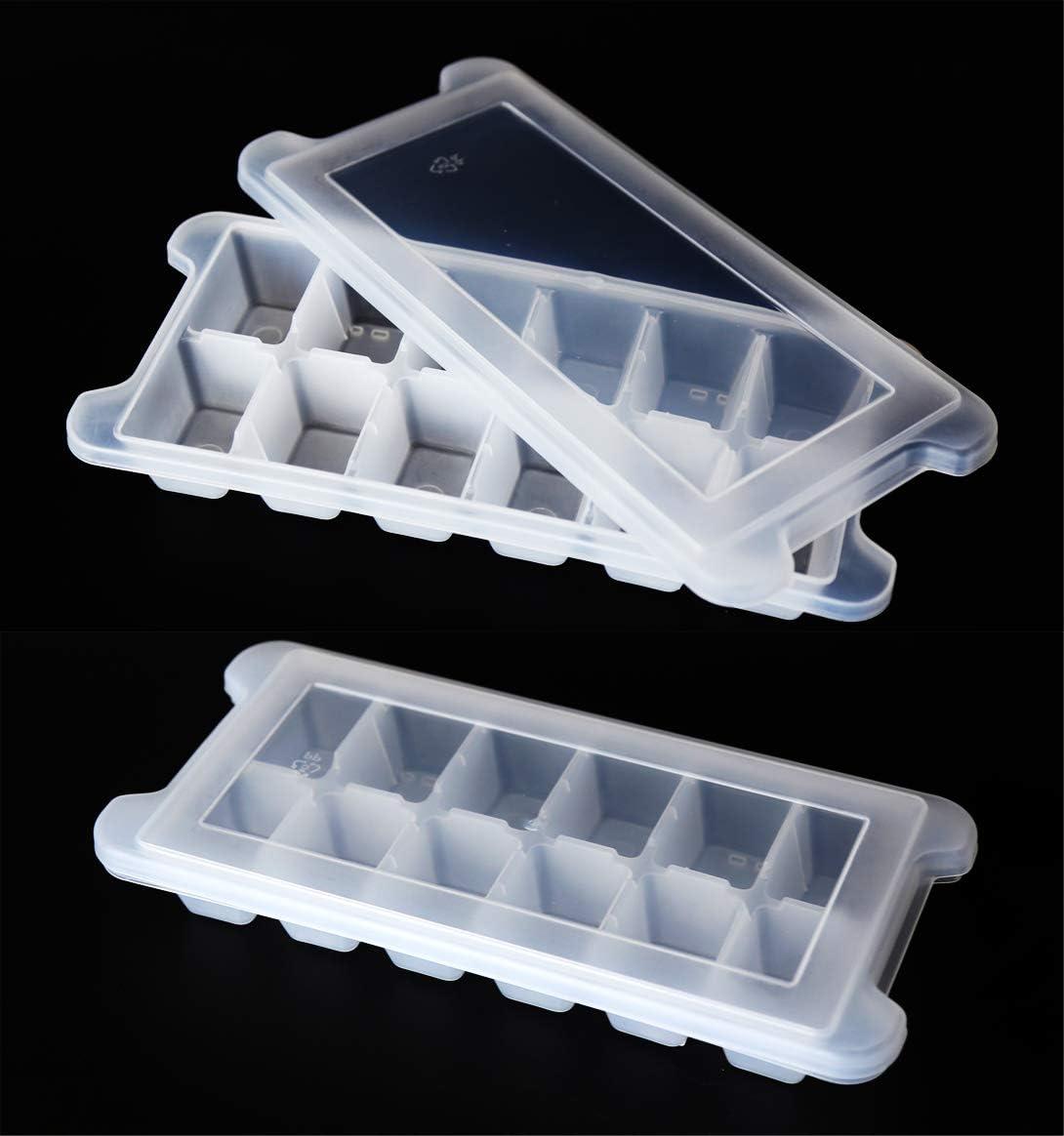 (Pack of 2) Ice Tray/DIY Ice Box/Ice Cube Mold/Fresh-keeping Sealed Box, Used for Make Whiskey Ice Hockey/Vegetable Puree/Ice Cubes/Frozen Milkshake/Ice Jelly/Ice Bucket Pellets