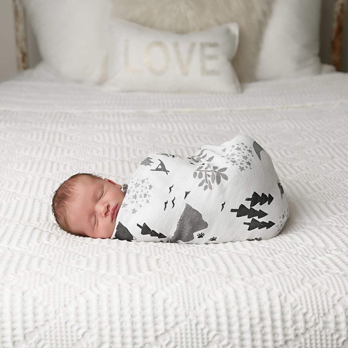 Muslin Swaddle Blanket Set 'Adventurer' Large 47x47 inch | Super Soft Bamboo Blankets | Arrow, Feather and Stars | 3 Pack Baby Shower Gift Bundle of Swaddles for Boys and Girls | 10,000 Wash Warranty by Kids N' Such (Image #2)