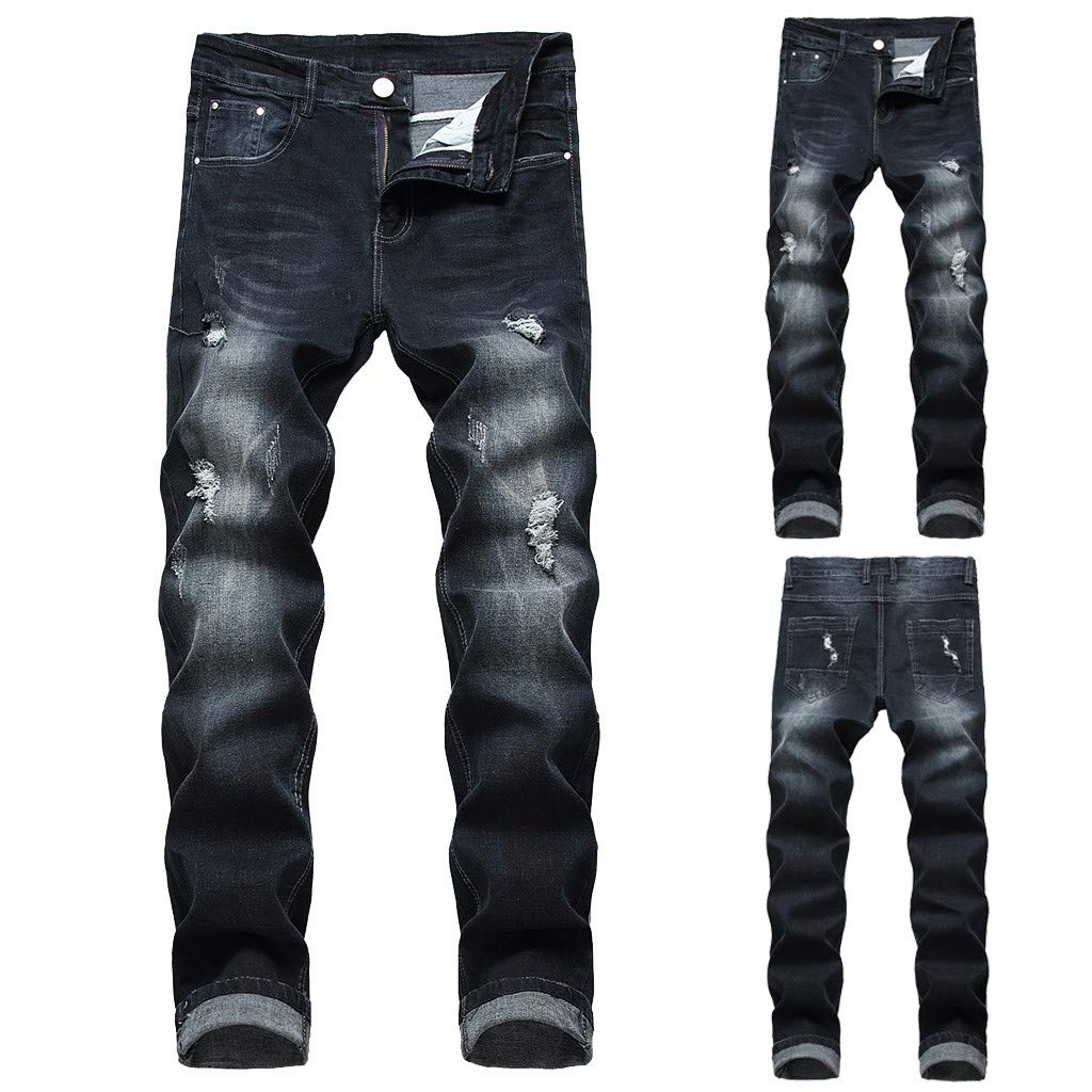 Coohole-Summer Men's Stretchy Ripped Skinny Biker Jeans Destroyed Taped Slim Fit Denim Pants
