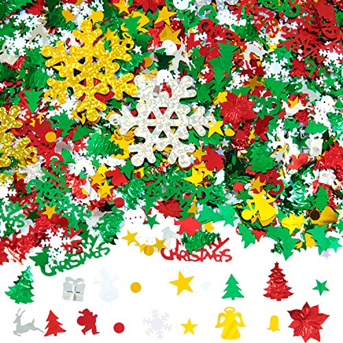 Aneco 150g/6000 Pieces Christmas Confetti Pentagram,Snowflake,Santa,Pine,Merry Christmas Alphabet,Sequin,Poinsettia Flowers,Gift,Bell,Angel,Snowman,Elk Table Confetti Bright Christmas Decoration Set¡
